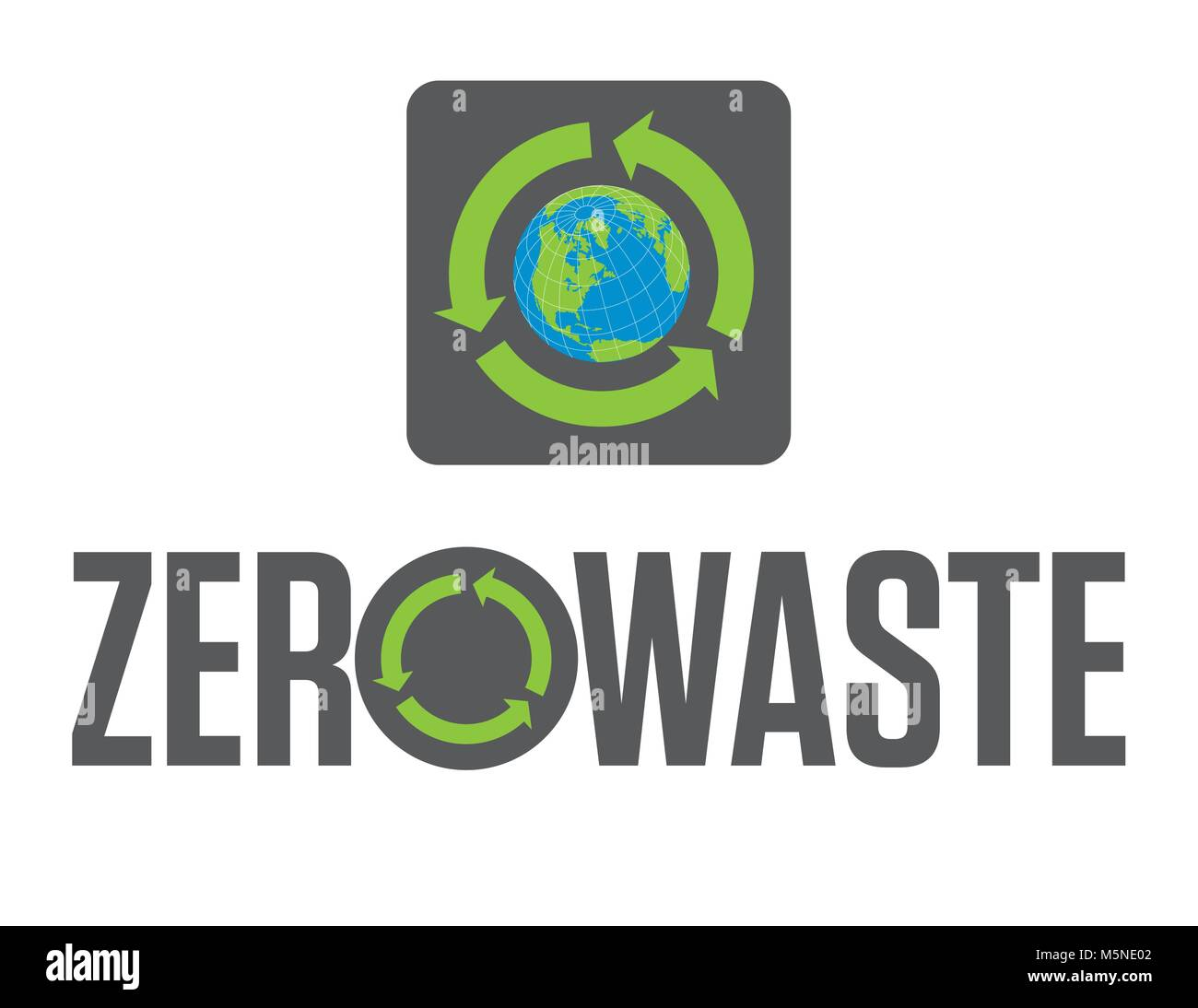 Zero Waste Badge or Emblem Vector Design. Set of two Zero Waste graphic design elements with rotating recycle arrows - Stock Vector