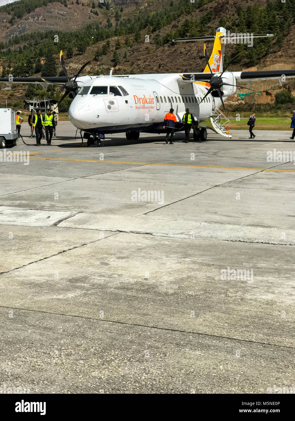 Paro, Bhutan.  Drukair Aircraft at Paro Airport. - Stock Image