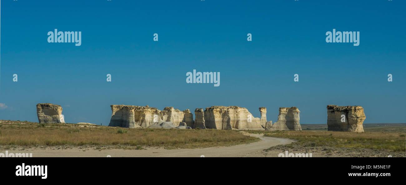 The Chalk Pyramids - Monument Rocks, Kansas - Stock Image