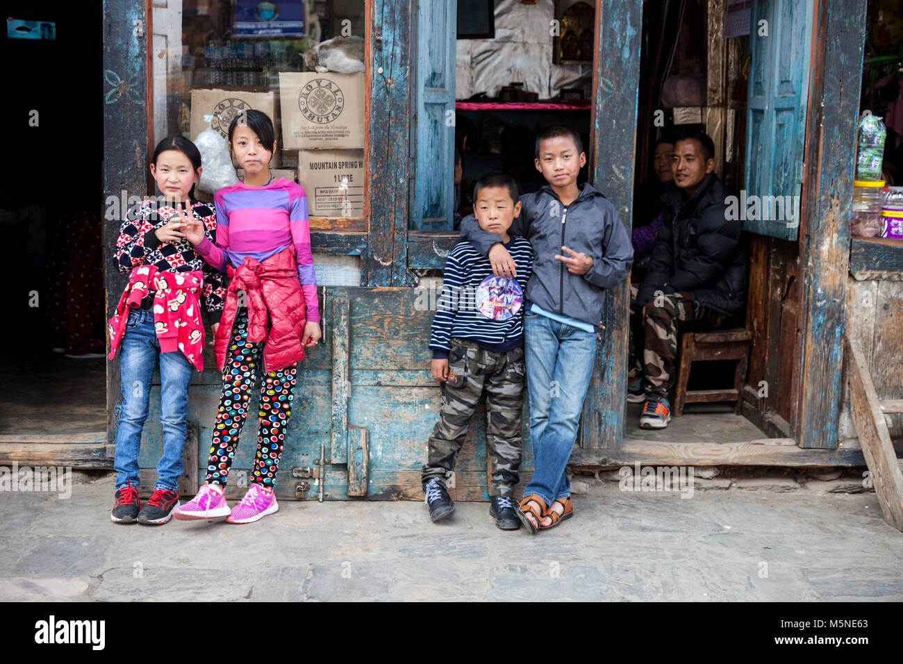 Thimphu, Bhutan.  Young Bhutanese Children in Western Dress. - Stock Image