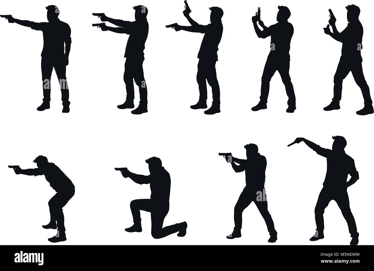 man with gun silhhouette in set Stock Vector