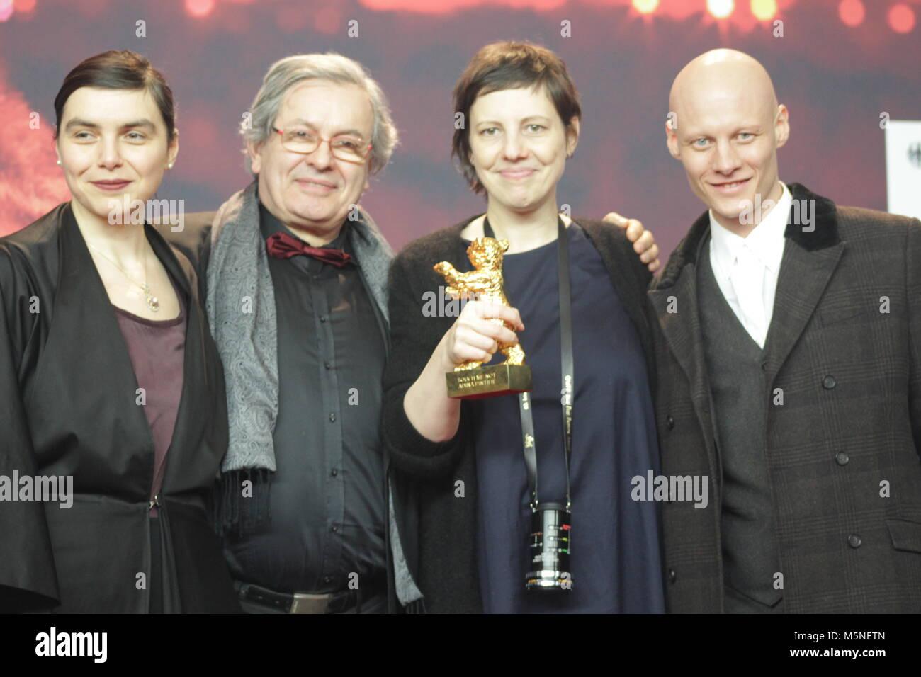 Winner 68th Berlinale,  golden bear, Goldener Bär Best Film: 'Touch Me Not' by Adina Pintilie , Berlin, - Stock Image