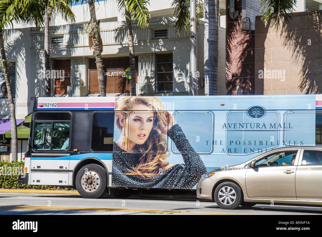 Miami Beach Florida 41st Street traffic Miami-Dade Metrobus