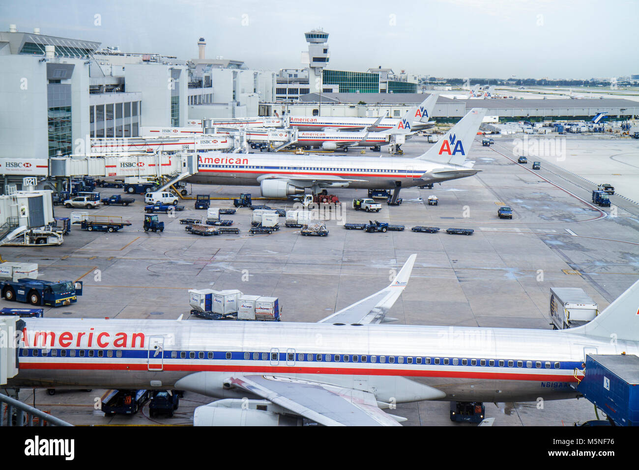 MiamiMiami Florida International Airport MIA gate area tarmac American Airlines commercial airliner - Stock Image