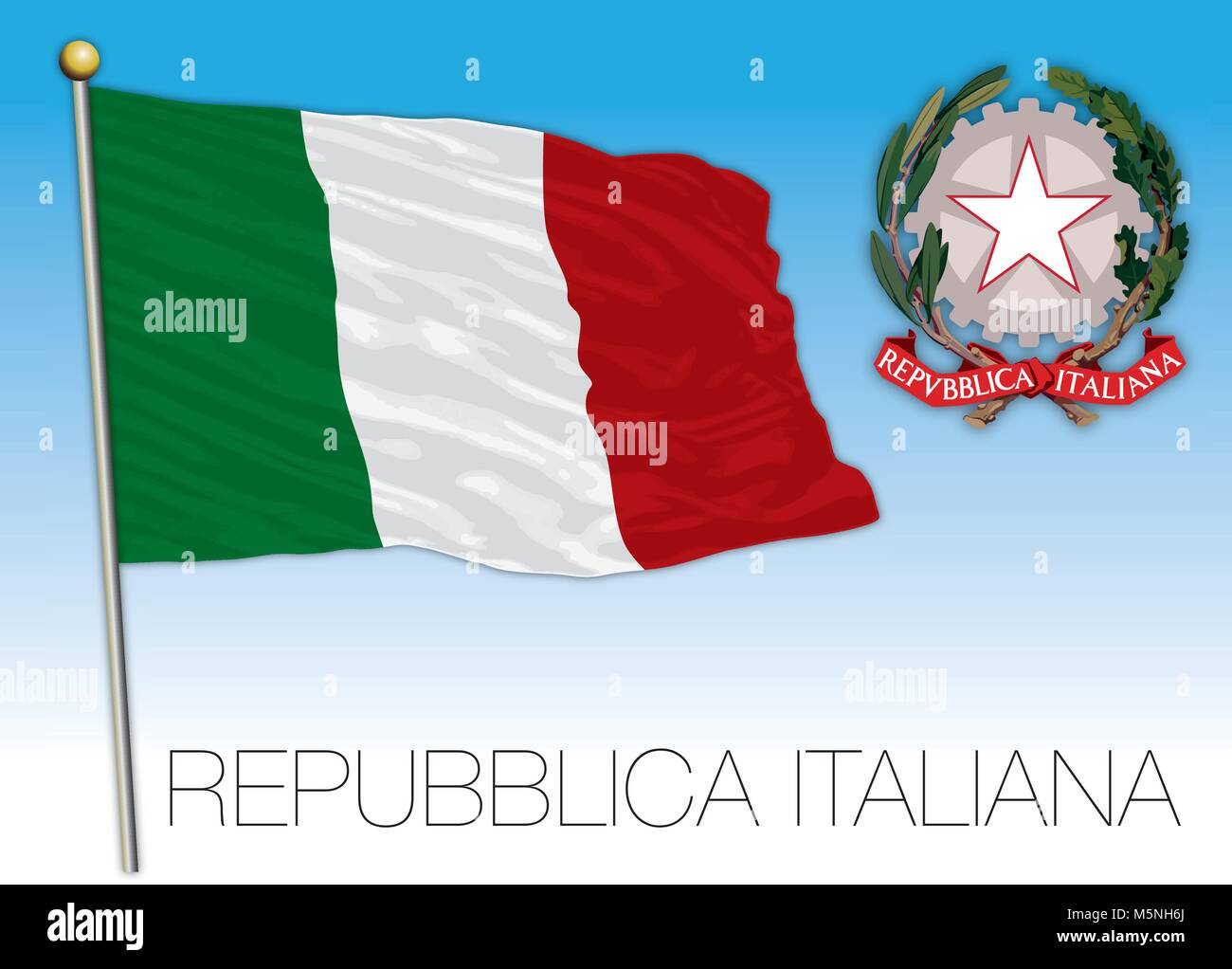 Republic of Italy, flag and coat of arms on the blue sky, illustration - Stock Vector