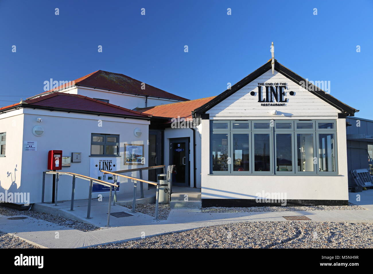 End of the Line restaurant at Romney Hythe and Dymchurch Railway station, Dungeness, Kent, England, Great Britain, Stock Photo