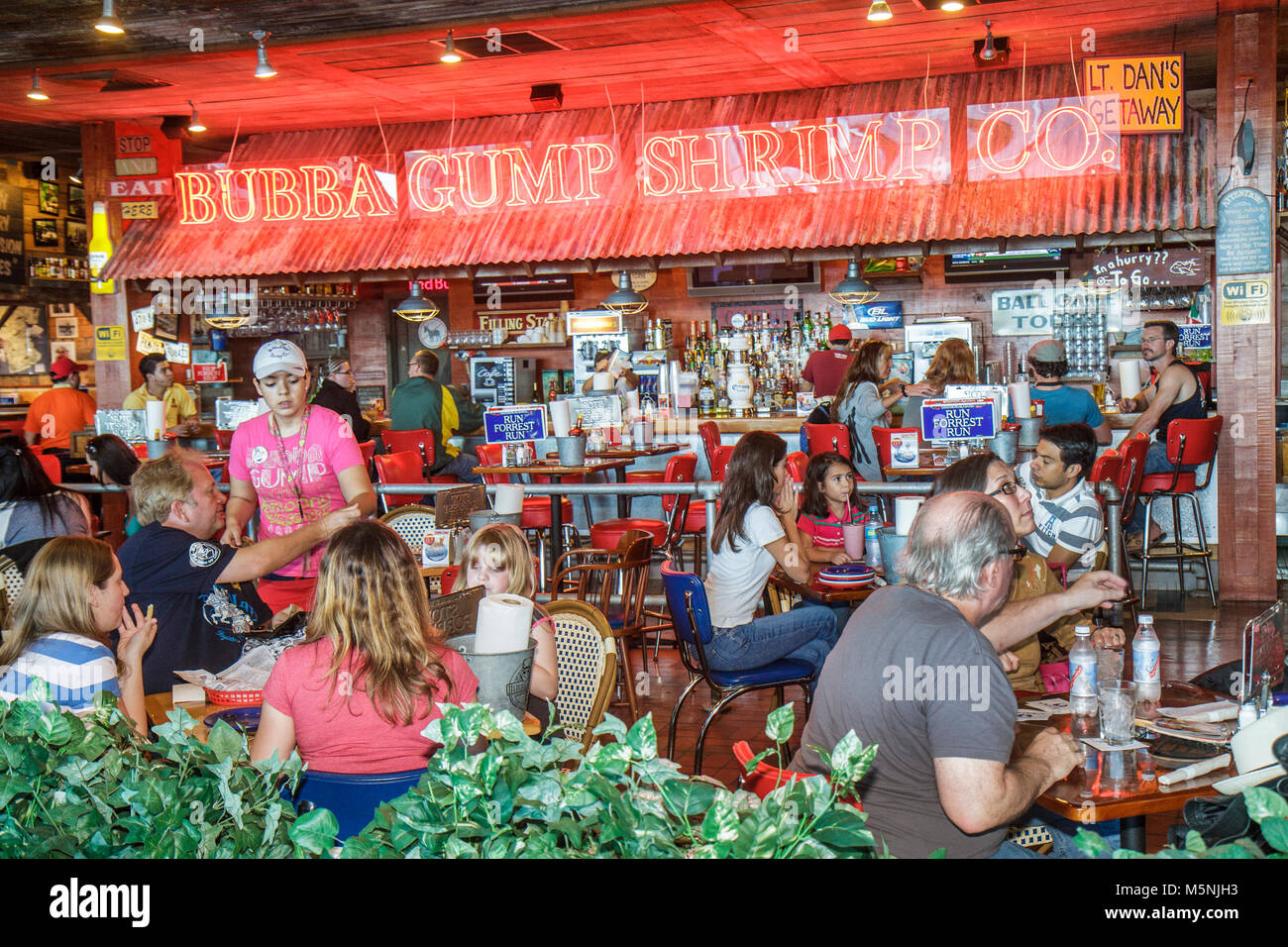 Cancun Mexico Yucatán Peninsula Quintana Roo Cancun International Airport restaurant concession Bubba Gump - Stock Image