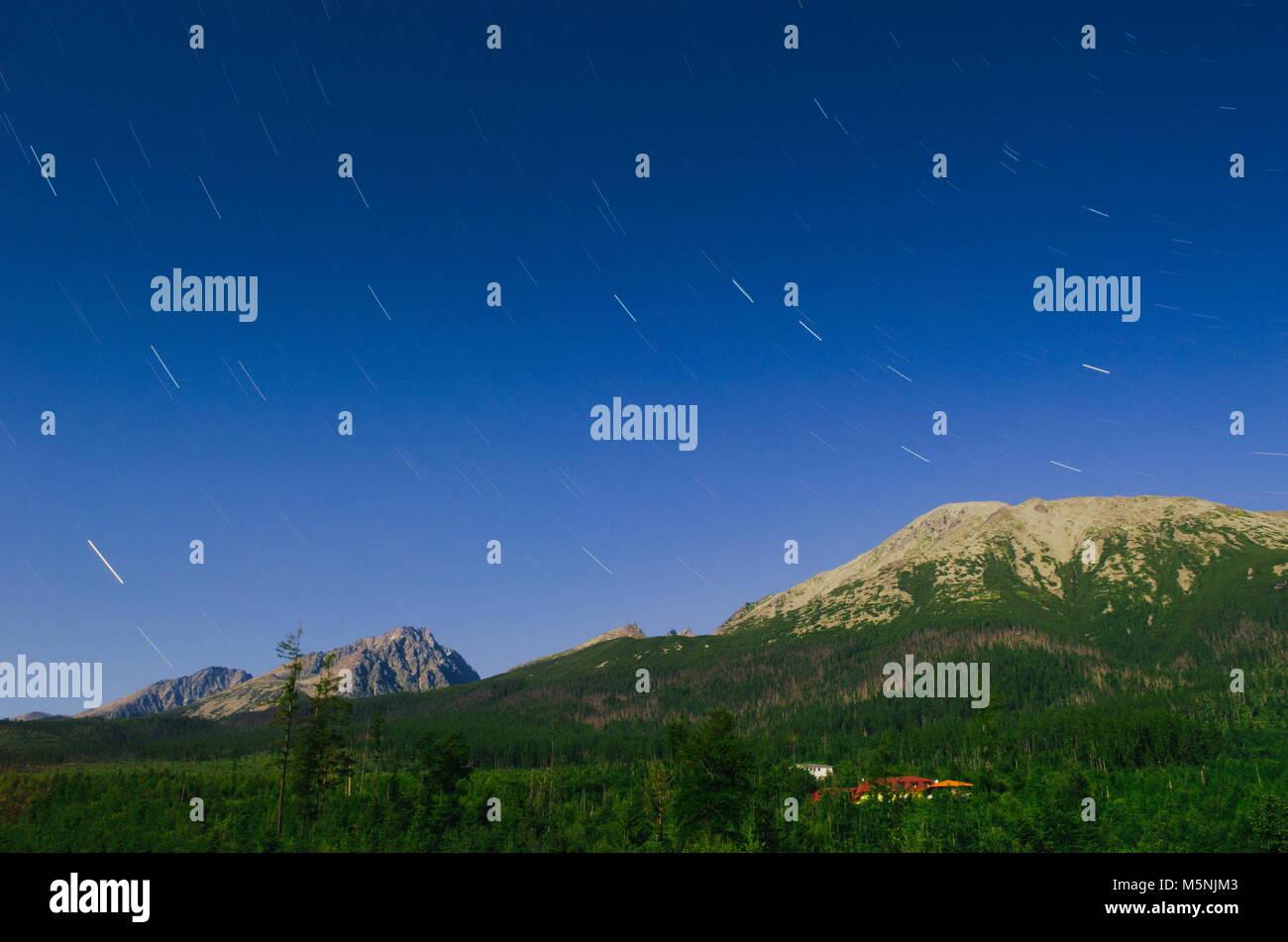Big Dipper Asterism Ursa Major Constellation Astrophotography over Slavkovsky Stit Mountain Peak in High Tatras - Stock Image