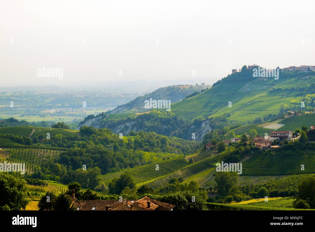 A beautiful outlook of the the Italian countryside near Monforte d'Alba. - Stock Image