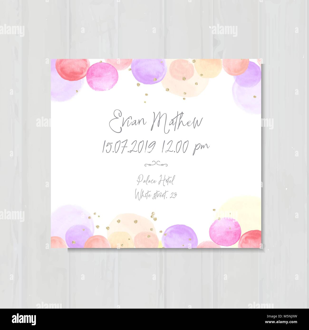 Baby shower invitation template, invite, card, watercolor bubbles ...