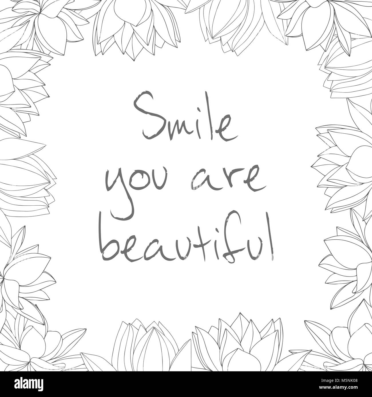 Square Frame With Hand Drawn Flowers Black And White Smile You