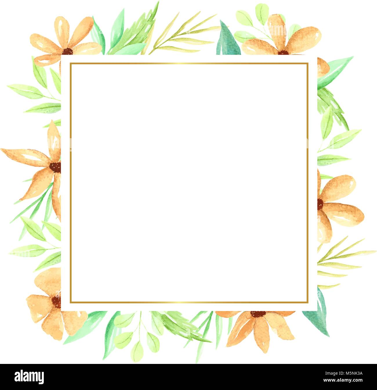 Square Frame With Hand Drawn Watercolor Flowers And Leaves Orange