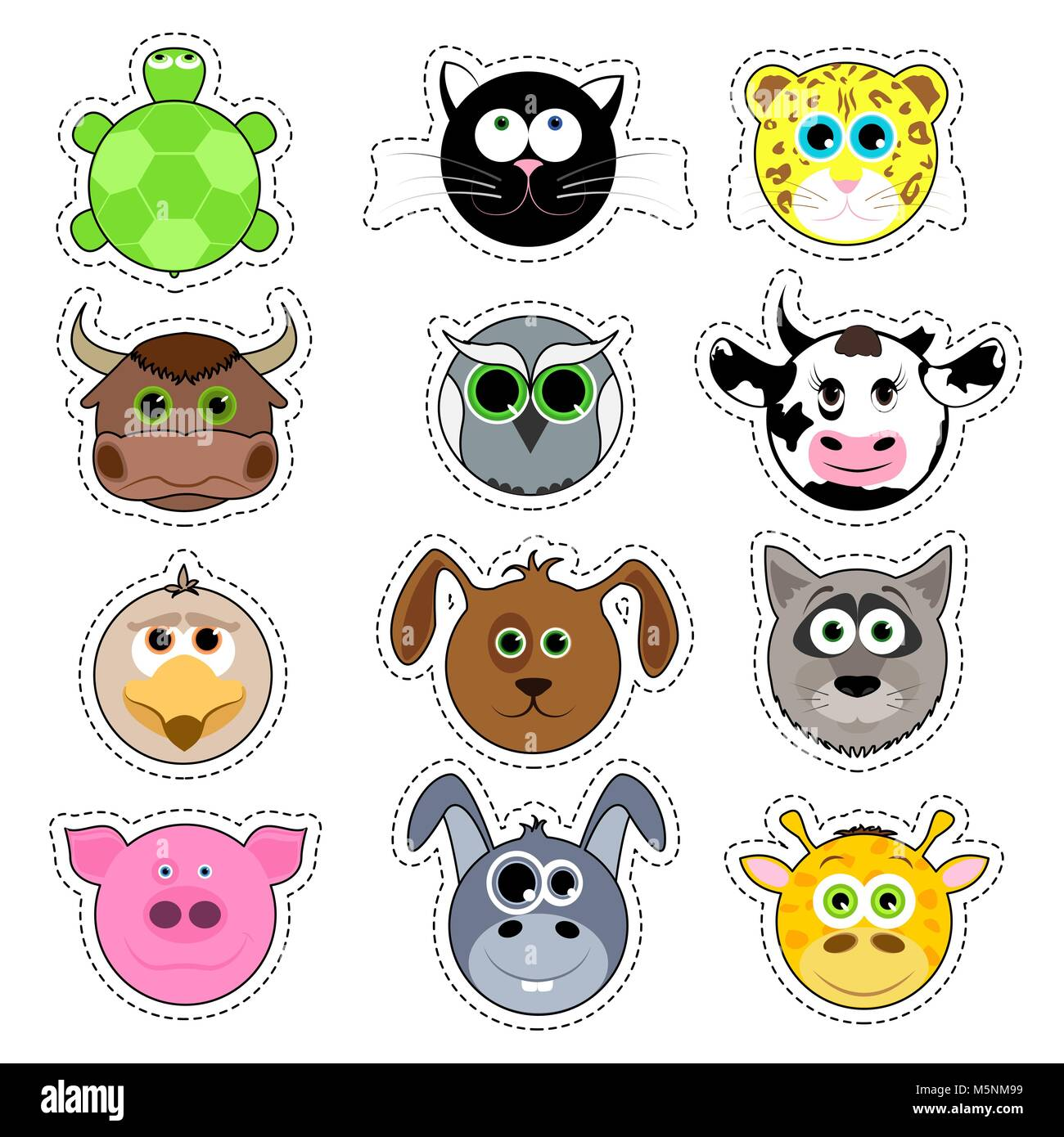 Set of cute cartoon animals. Cute animal face sticker collection. - Stock Image