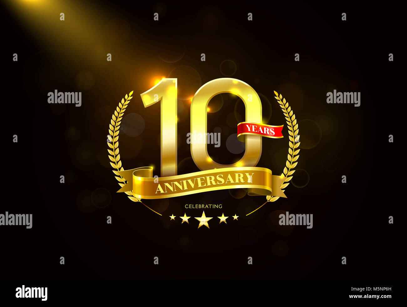 10th anniversary logo stock photos 10th anniversary logo stock 10 years anniversary with laurel wreath golden ribbon vector illustration stock image biocorpaavc Images