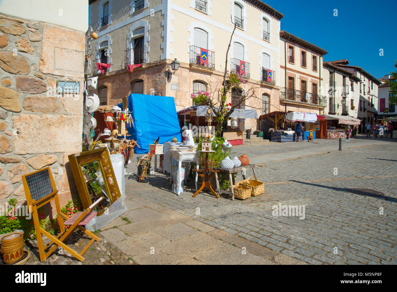 Antique flea market. Covarrubias, Burgos province, Spain. - Stock Image