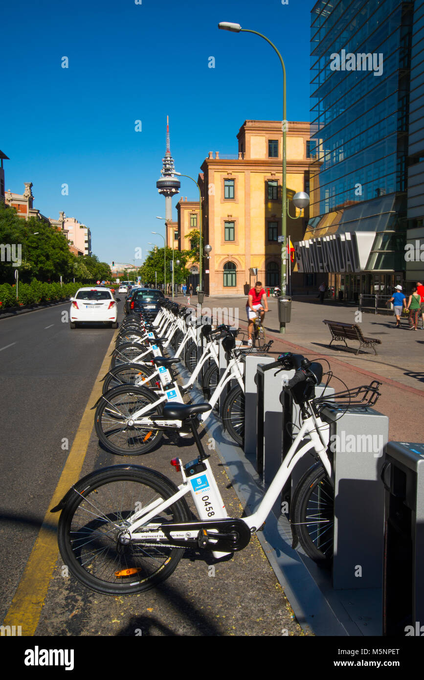 BiciMad bike parking. O'Donnell street, Madrid, Spain. - Stock Image