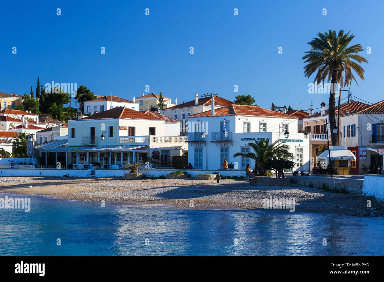 View of traditional architecture in Spetses village, Greece. - Stock Image