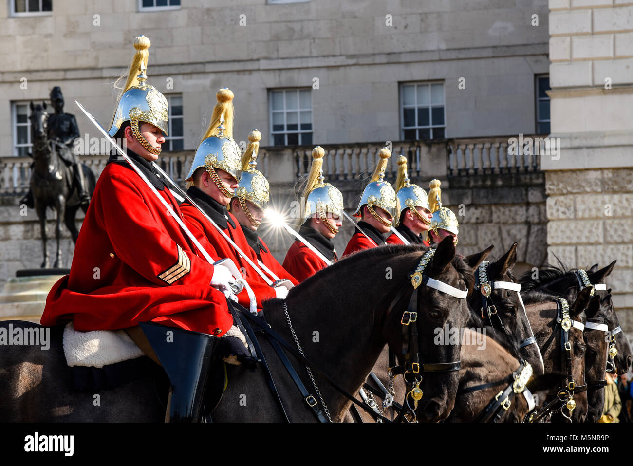 Changing of the guard, Horse Guards Parade, London. Life Guards Household Cavalry mounted soldiers in ceremonial - Stock Image