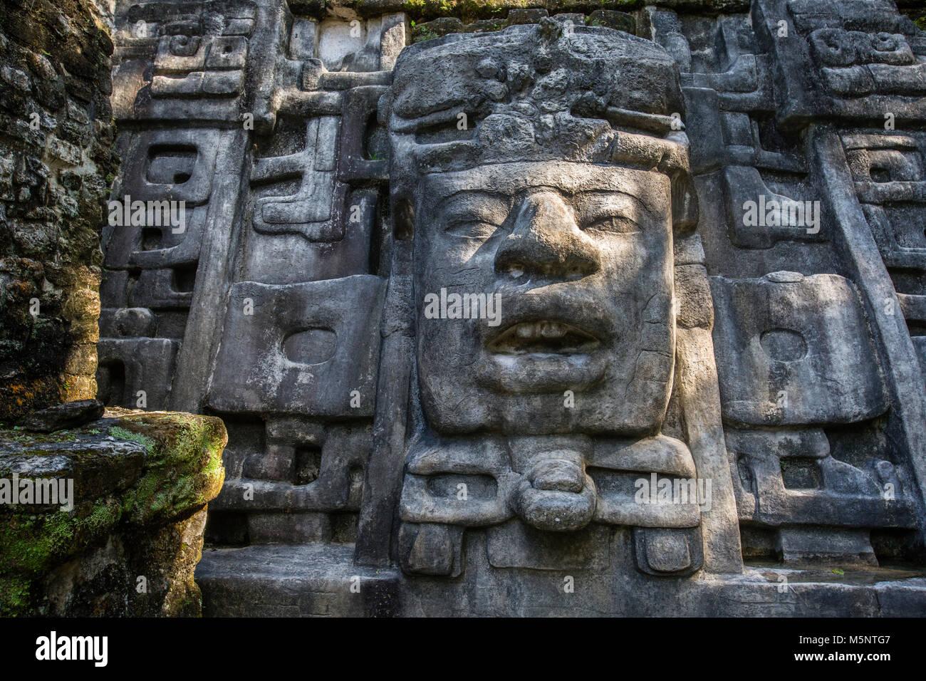 Mask Temple at Belize Lamanai Mayan Ruins - Stock Image