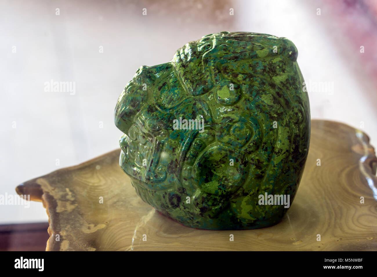 The Jade Head at Belize Altun Ha Mayan Ruins - Stock Image