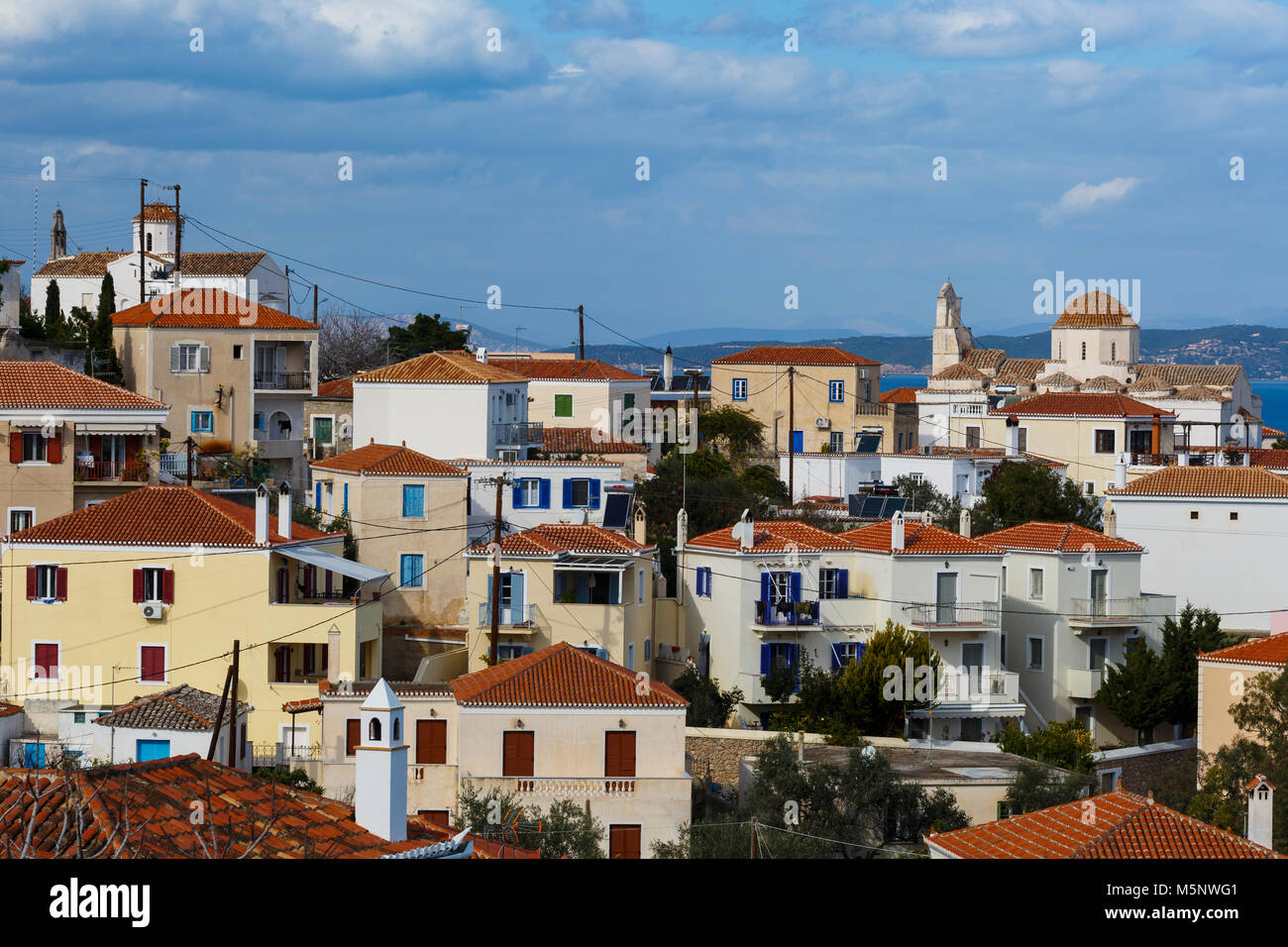 One of the largest churches in Spetses village, Greece. - Stock Image