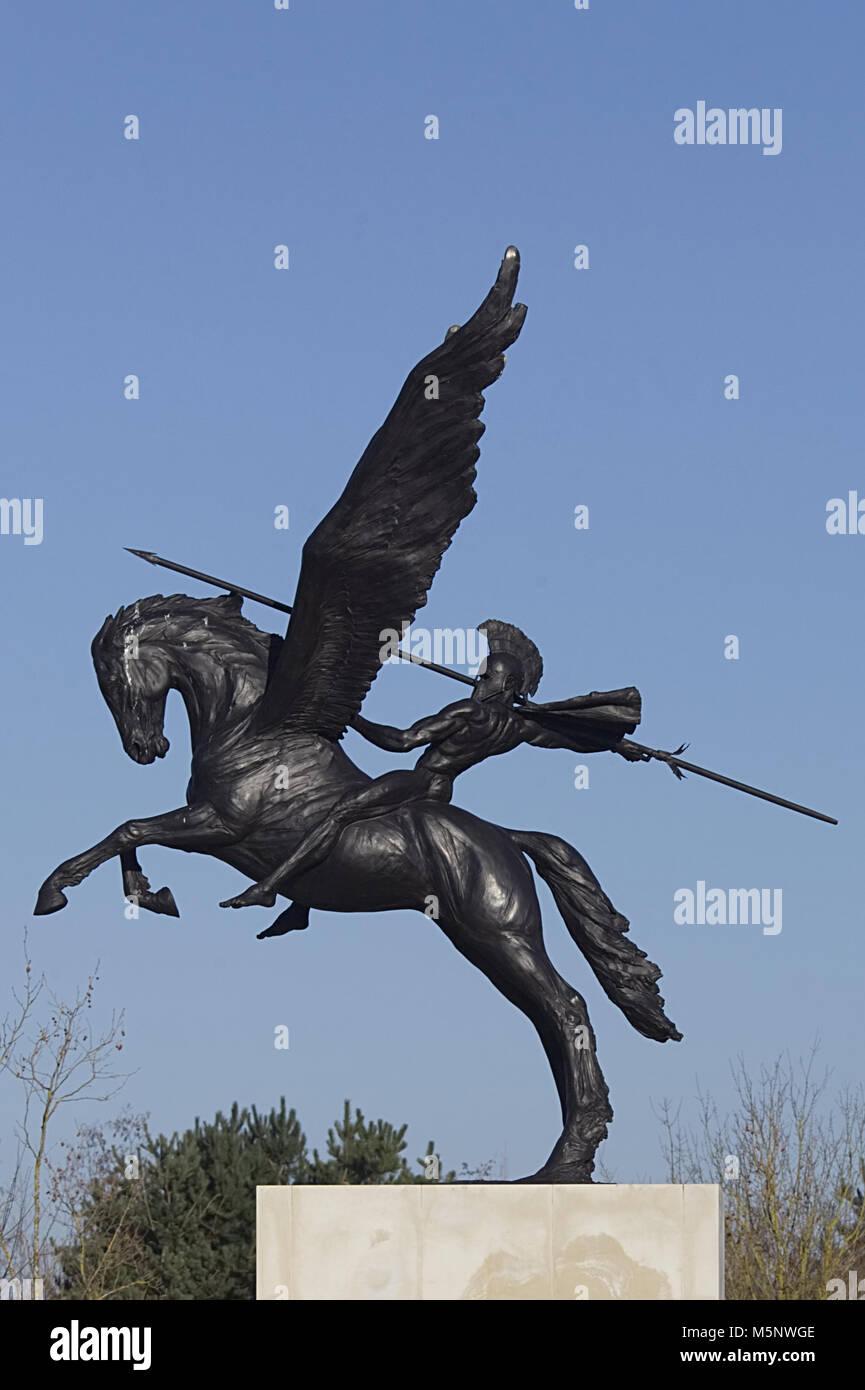 winged horse Pegasus, ridden by Greek mythological hero Bellerophon, official symbol of the Parachute Regiment - Stock Image