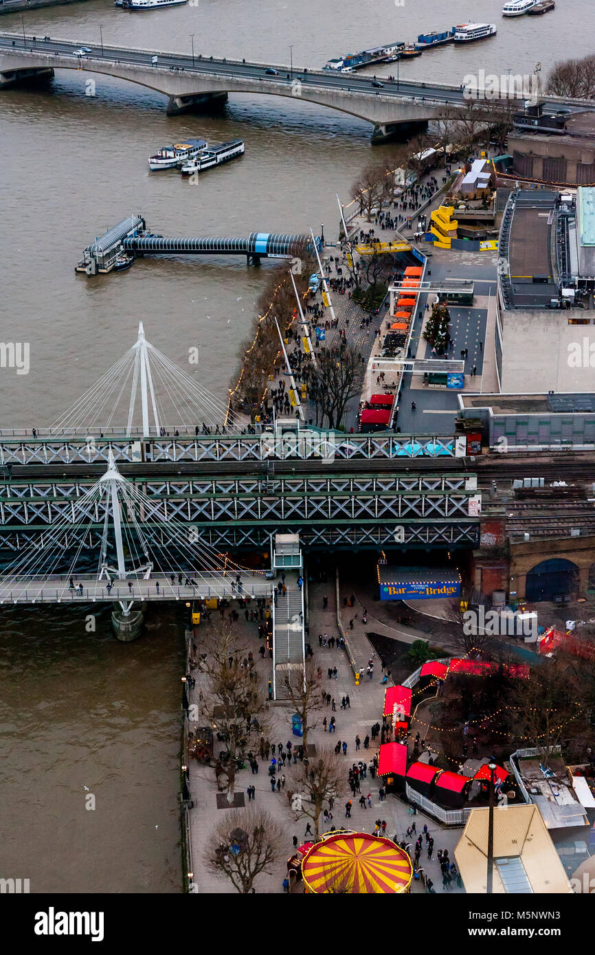 An Aerial View Of The Southbank and River Thames, London, UK - Stock Image