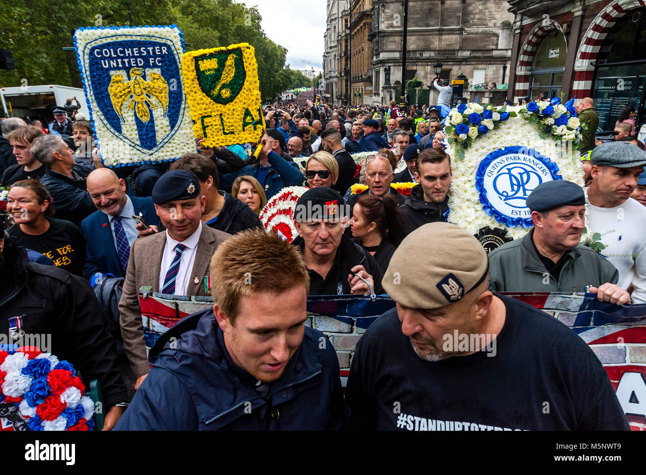 Former British soldiers join The Football Lads Alliance (FLA) march in Central London against extremism, London, - Stock Image