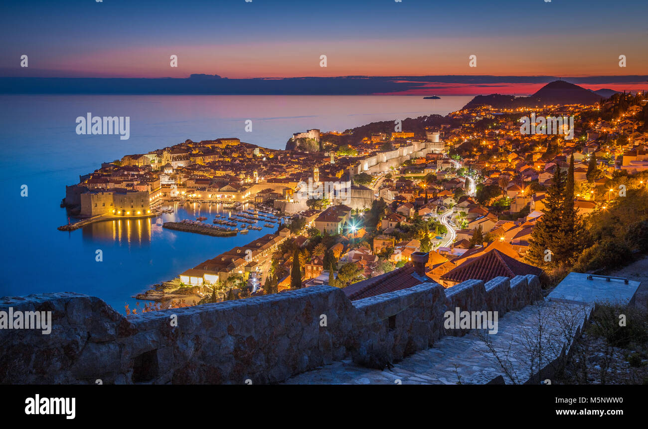 Panoramic aerial view of the historic town of Dubrovnik, one of the most famous tourist destinations in the Mediterranean - Stock Image