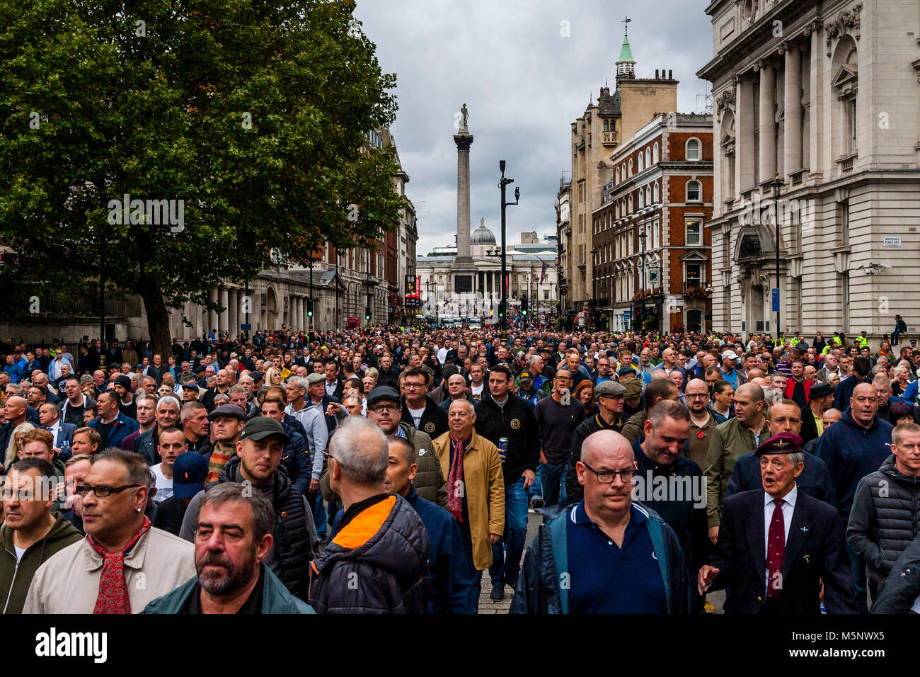 Football fans from across the UK marching against extremism under the banner of the FLA (football lads alliance), - Stock Image