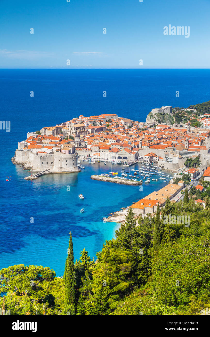 Historic town of Dubrovnik, one of the most famous tourist destinations in the Mediterranean Sea, from Srd mountain - Stock Image