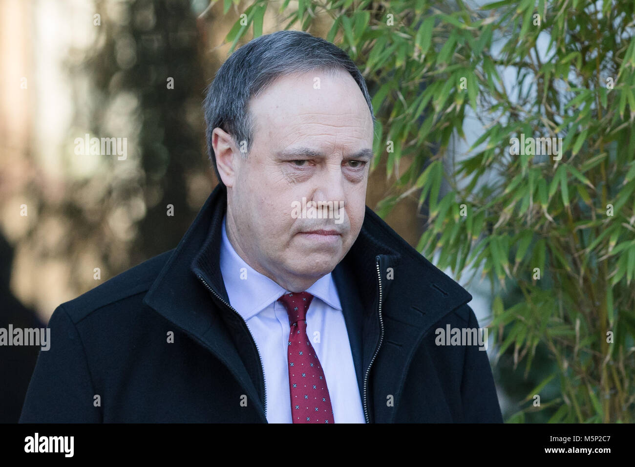London, UK. 25th February 2018. Nigel Dodds MP, Leader of the DUP at Westminster, leaving ITV Studios in London - Stock Image