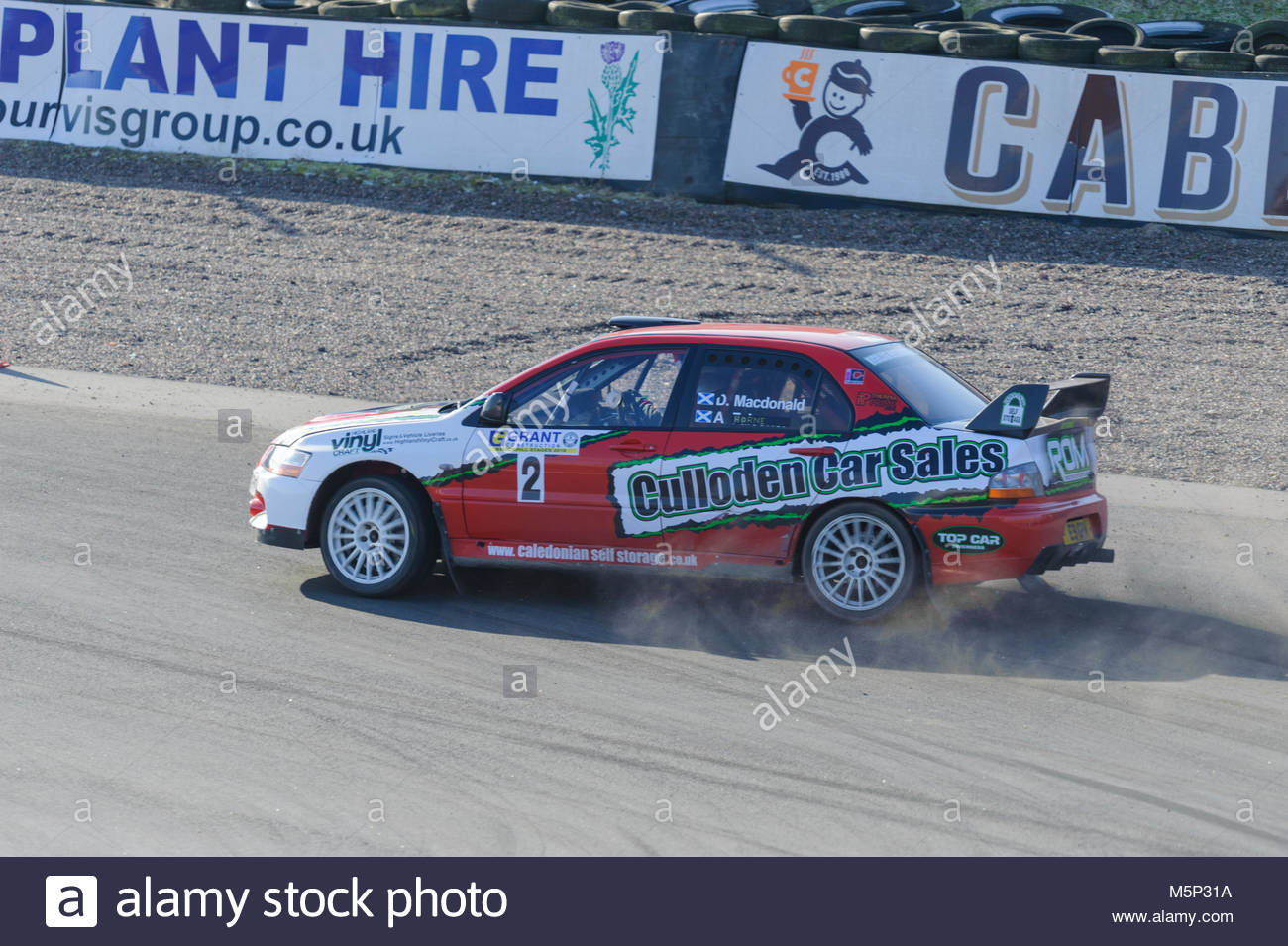 Dunfermline, UK. 25 February, 2018.  Mitsubishi Evo9 at the Hairpin during the Grant Construction Rally at Knockhill. - Stock Image