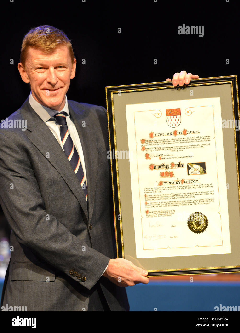 Chichester, UK. 25th February 2018. Astronaut Tim Peake receives the freedom of the City of Chichester, his home - Stock Image