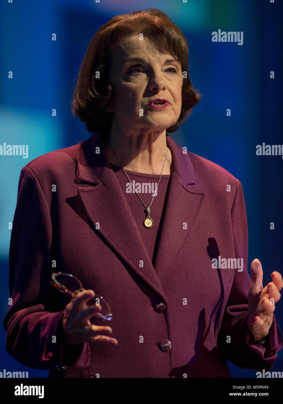 San Diego, California, USA. 24th Feb, 2018. U.S. Senator DIANNE FEINSTEIN (D-CA) addresses the 2018 California Democrats - Stock Image