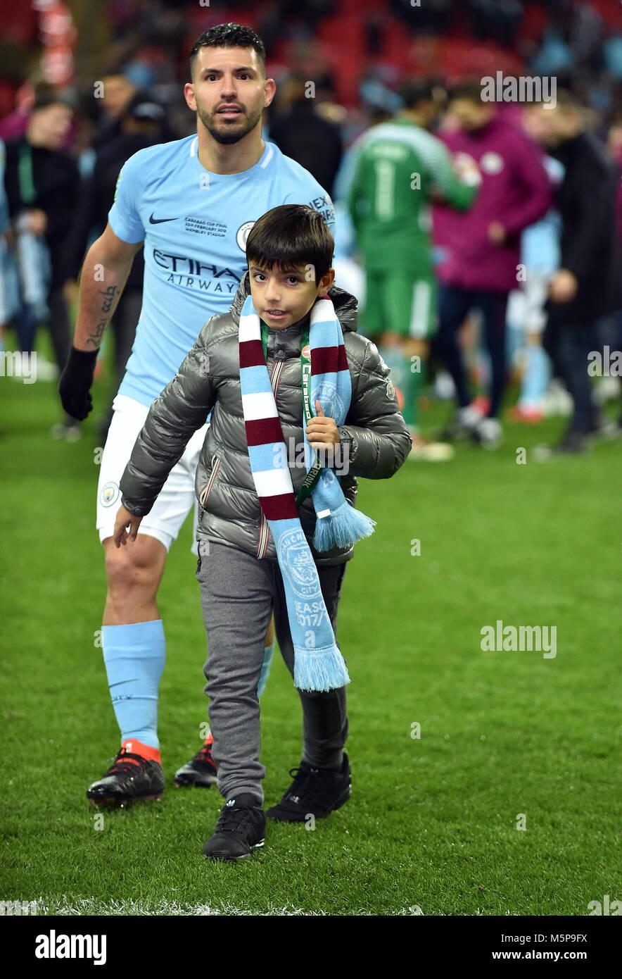 Sergio Aguero of Manchester City and his son Benjamin ...