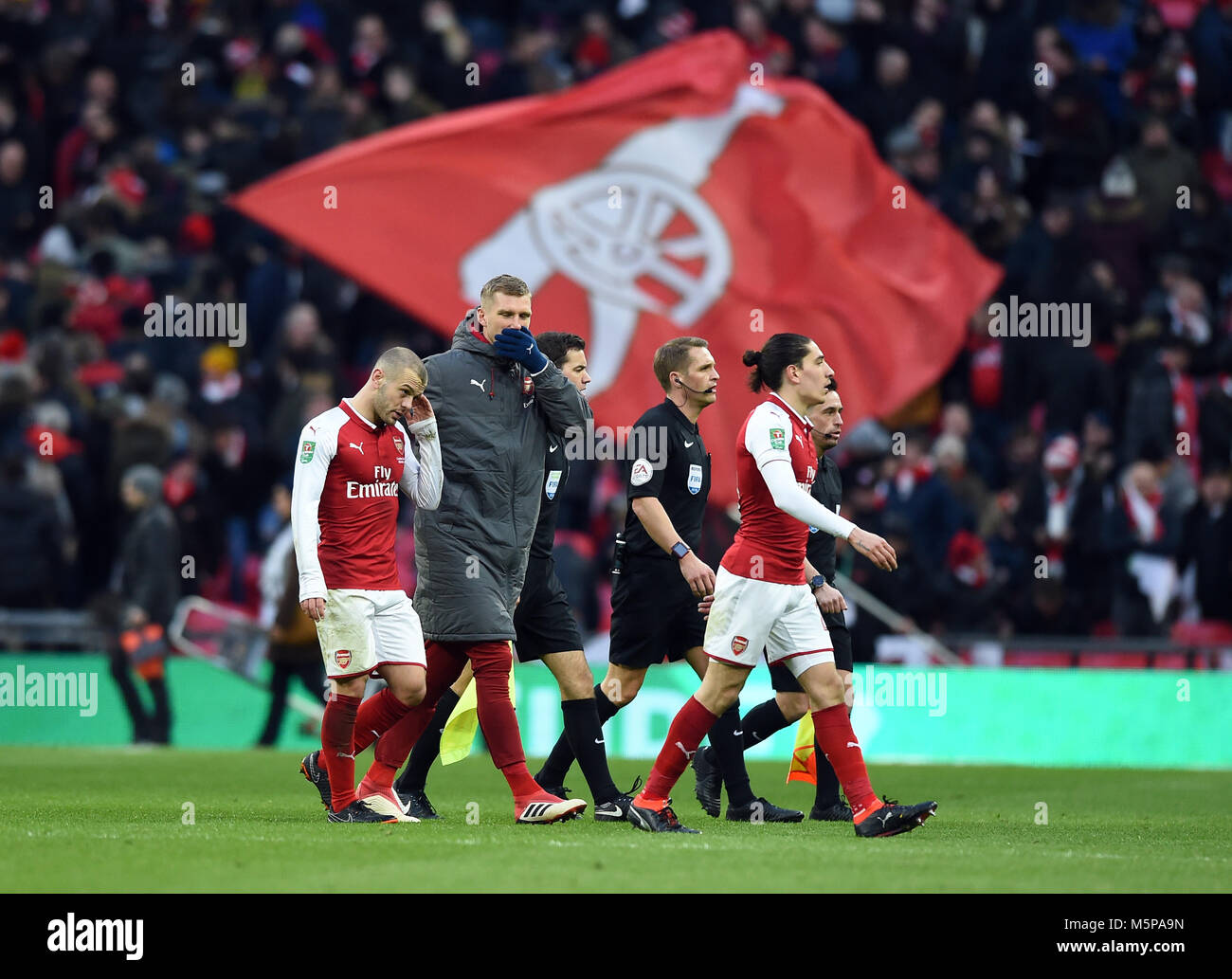 A DEJECTED Jack Wilshere of Arsenal walks off at half time ARSENAL V MANCHESTER CITY ARSENAL V MANCHESTER CITY, - Stock Image