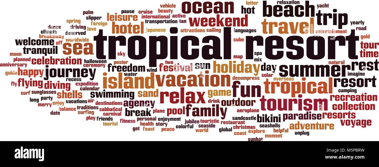 Tropical resort word cloud concept. Vector illustration - Stock Vector
