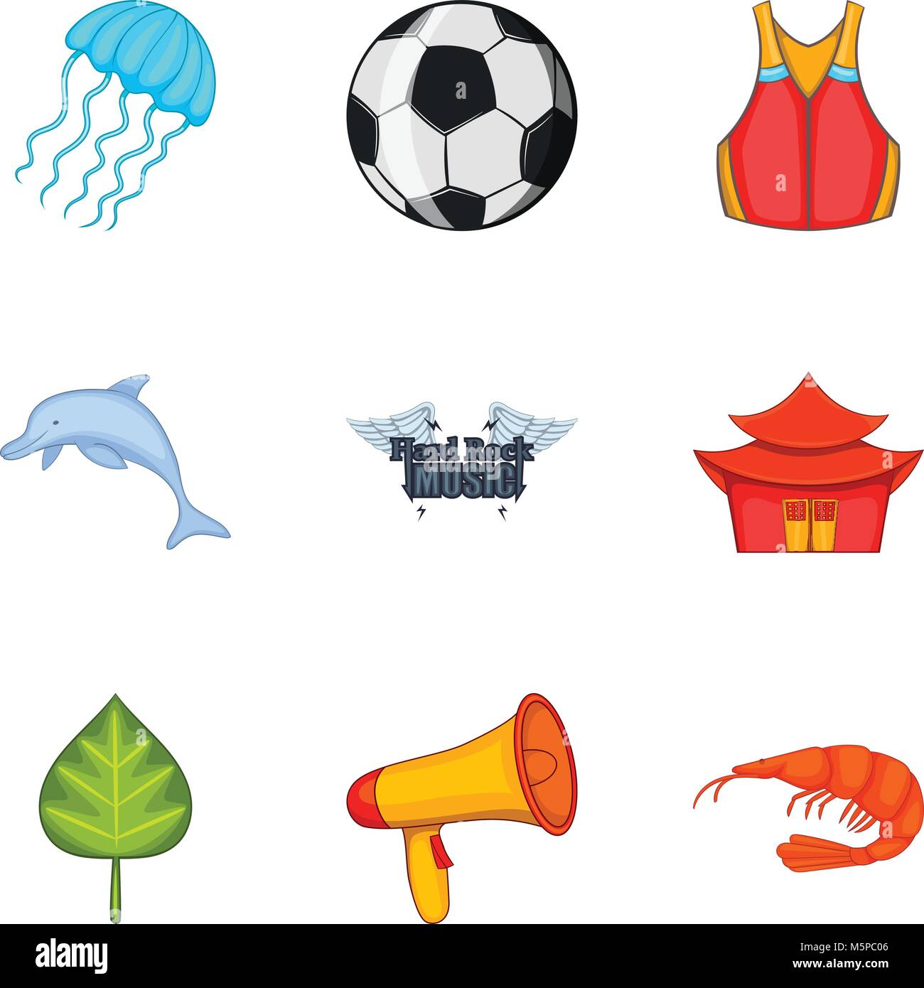 Summerly icons set, cartoon style - Stock Vector