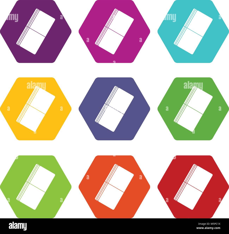 Eraser icon set color hexahedron - Stock Image