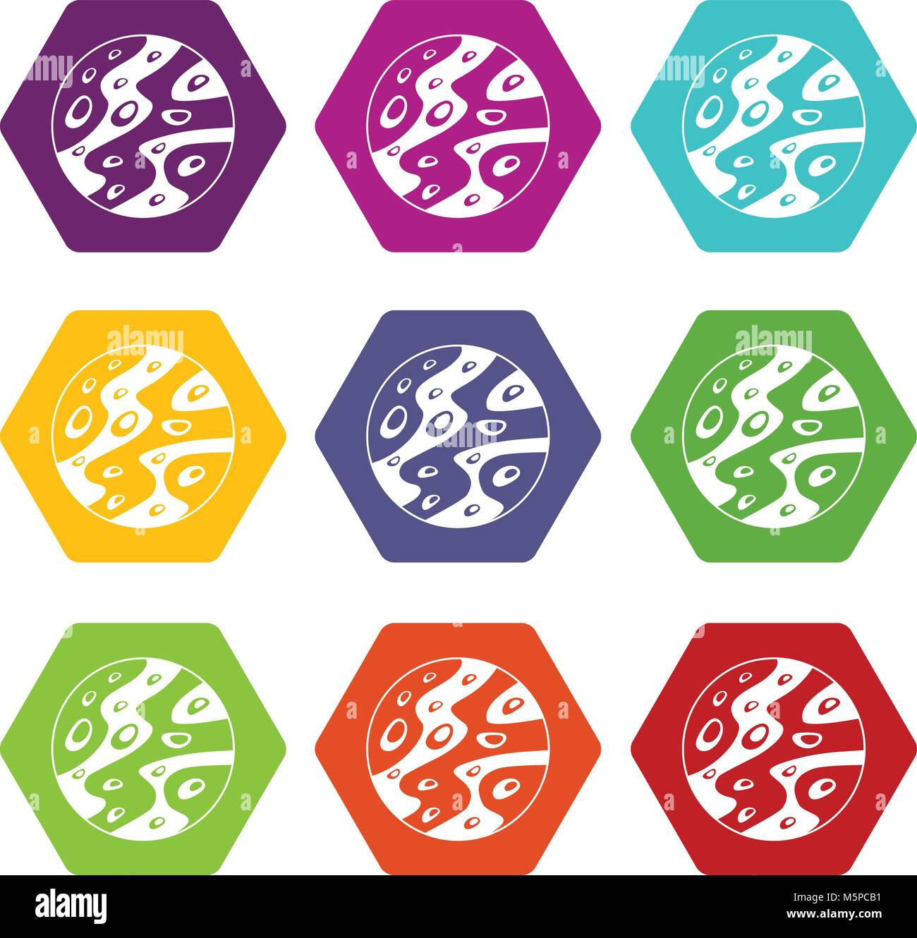Moon icon set color hexahedron - Stock Image