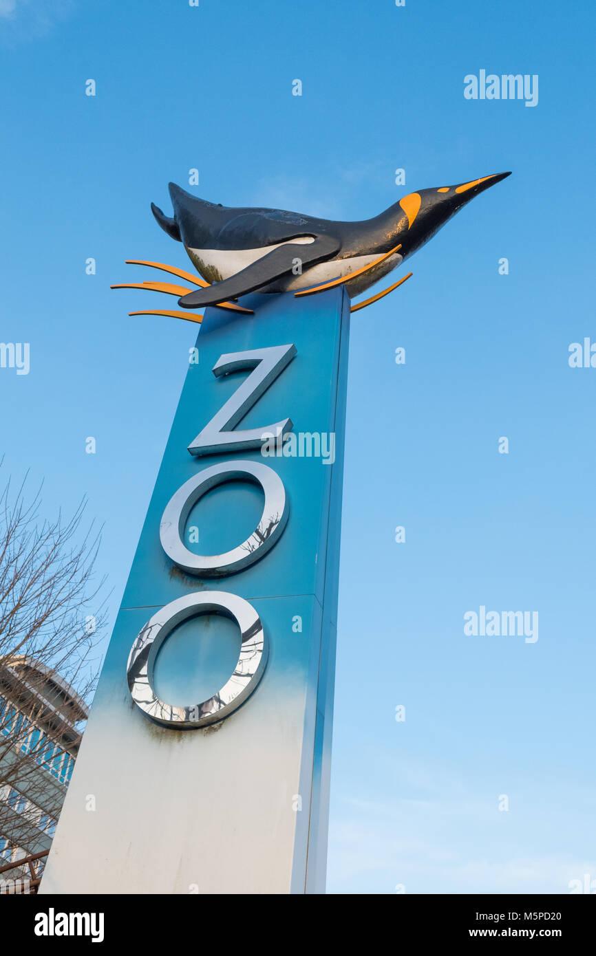 Edinburgh Zoo sign, Edinburgh, Scotland, UK - Stock Image
