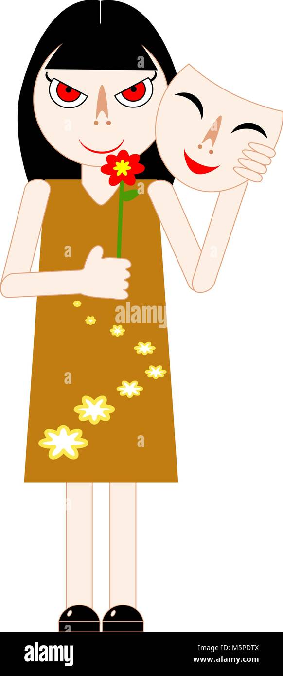 Woman hiding her real feeling behind a mask and holding red flower. Vector illustration. - Stock Vector
