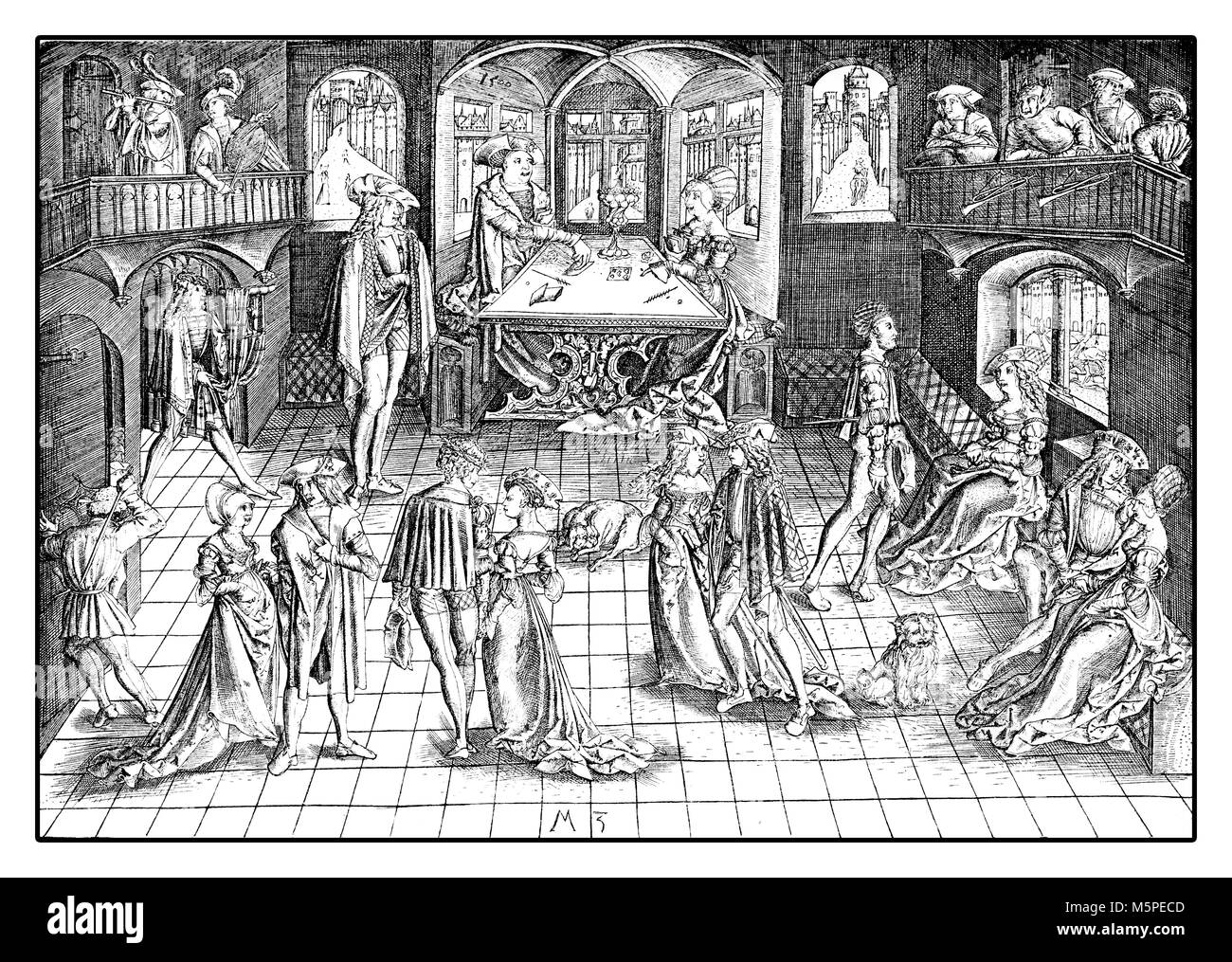 Ball at the royal court of Albrecht IV of Bavaria, reproduction of an engraving of Matthaeus Zafinger, year 1500 - Stock Image