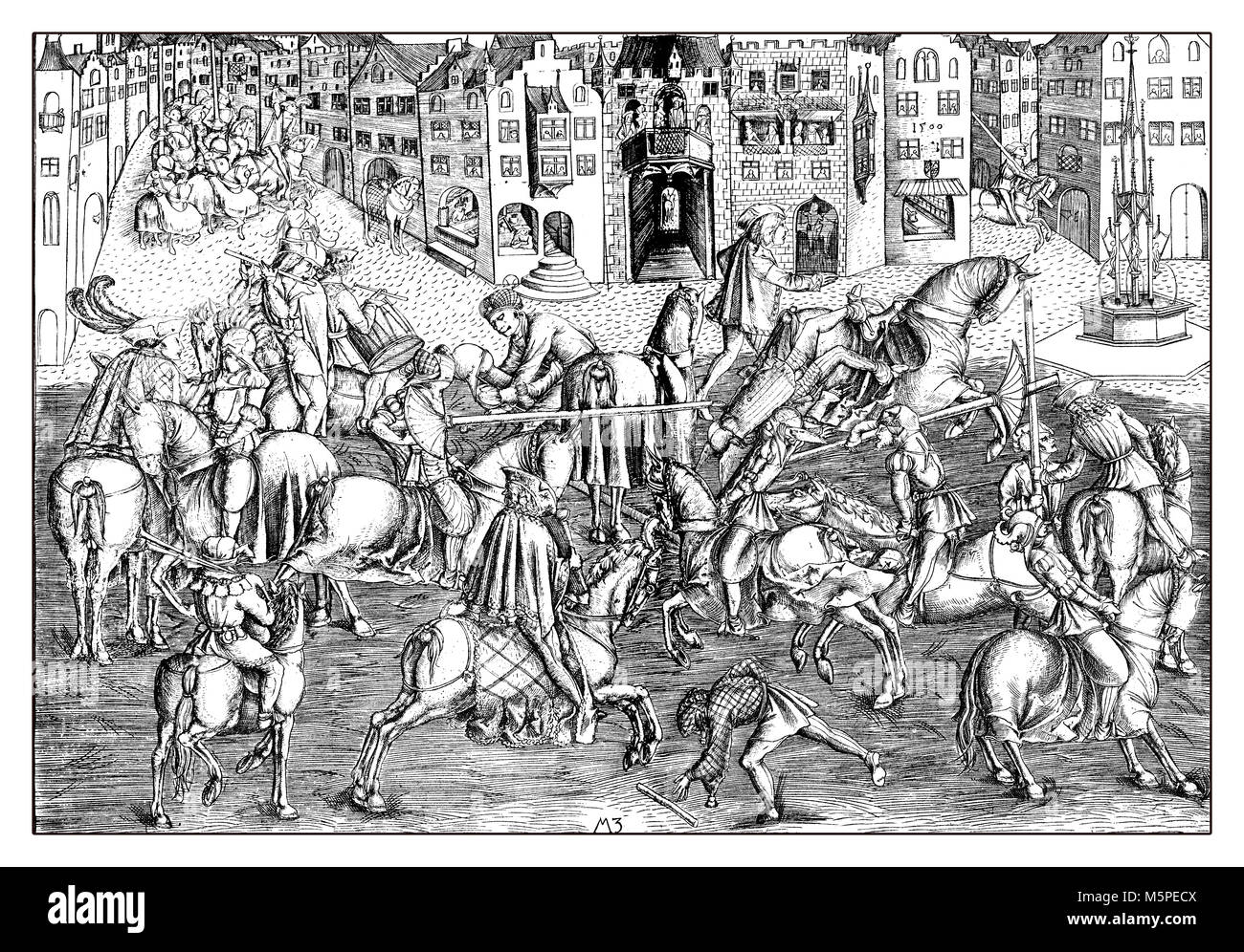 Tournament in München at the presence of Albrecht IV of Bavaria. Reproduction from an engraving of Matthaeus - Stock Image