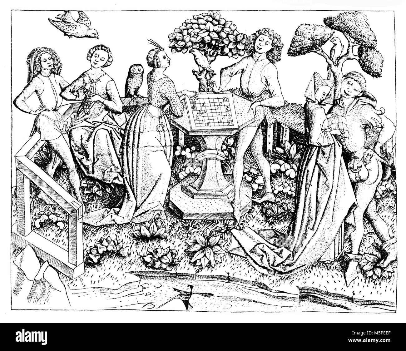Noble company leisure time in garden courting and  playing chess, XV century engraving - Stock Image