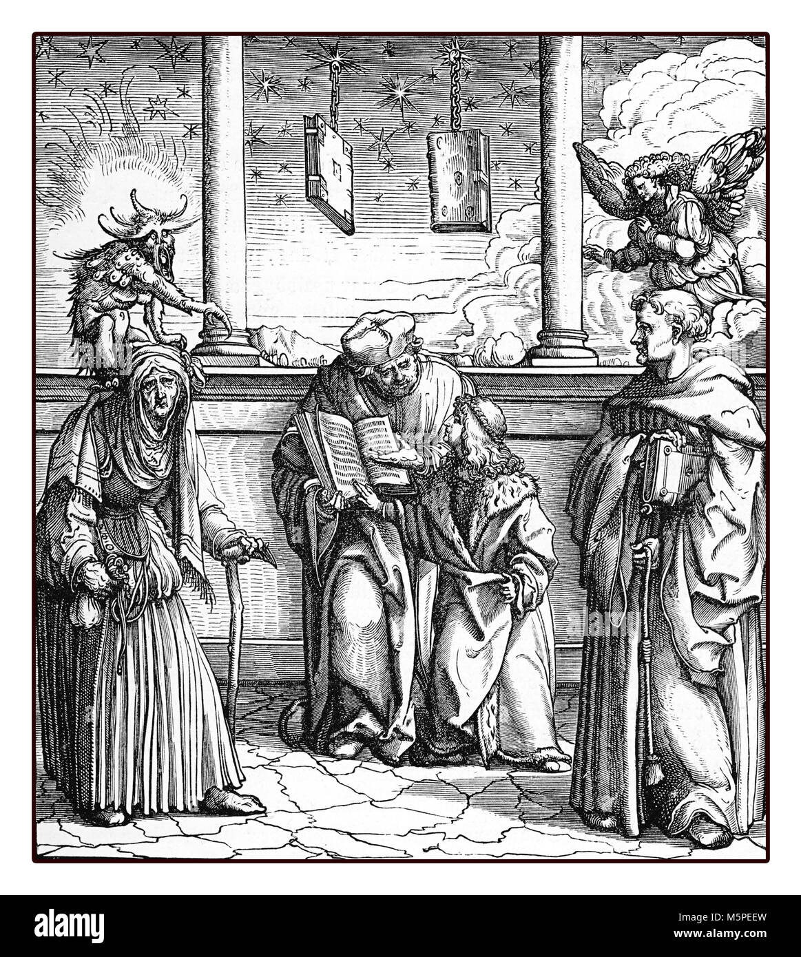 Holy Roman Emperor Maximilian I learns the alchemy of gold makers, reproduction from an engraving of Hans Burgkmair, - Stock Image