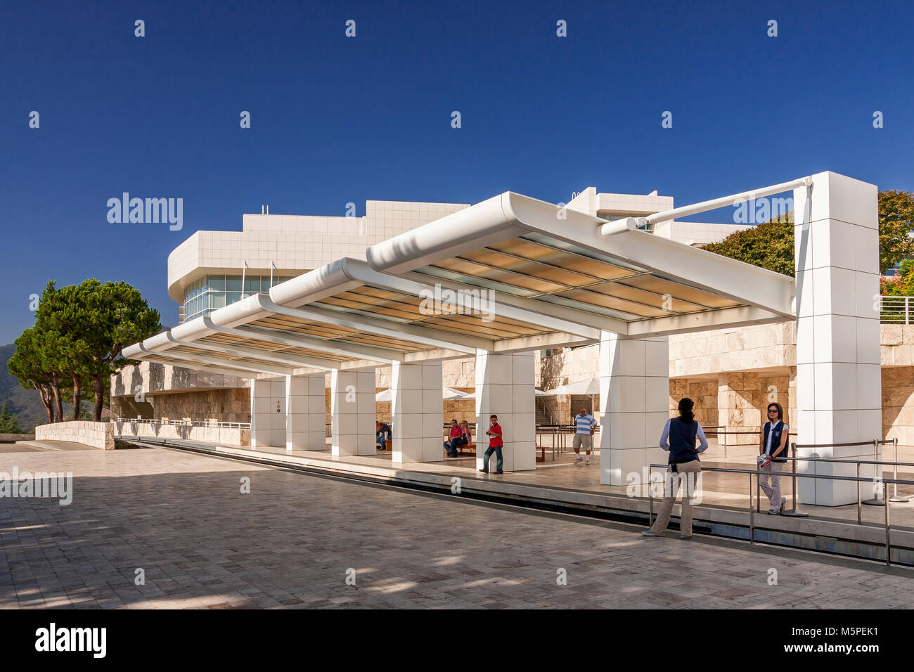 Getty Center Tram station at the arrival plaza ,Brentwood,  Los Angeles California - Stock Image