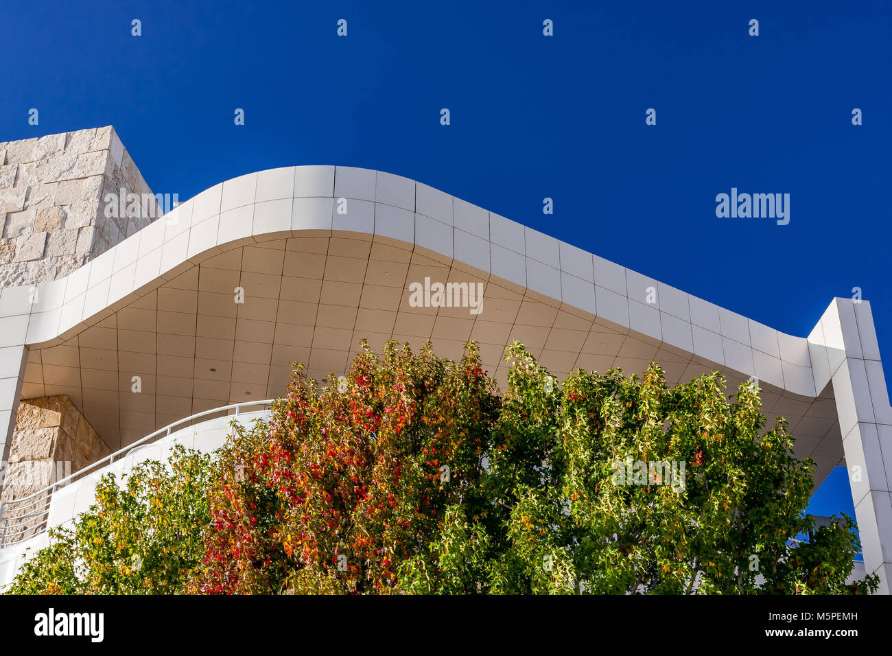 The Getty Center, Museum and Research Center, designed by Richard Meier, Exterior, Brentwood, Los Angeles, California, - Stock Image