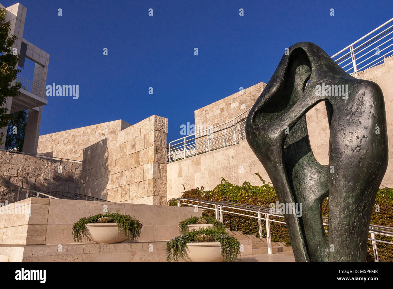 Barbara Hepworth's sculpture Figure for Landscape at The Fran and Ray Stark Sculpture Terrace, The Getty Center - Stock Image